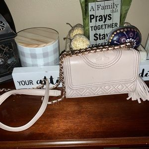 Tory Burch taupe Fleming crossbody quilted bag